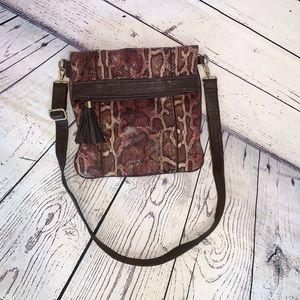 Poppie Jones Snakeskin Flap Over crossbody purse